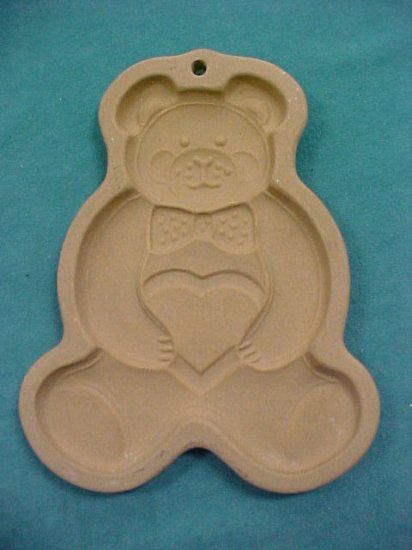 Pampered Chef Teddy Bear Heart Mold Clay 1991
