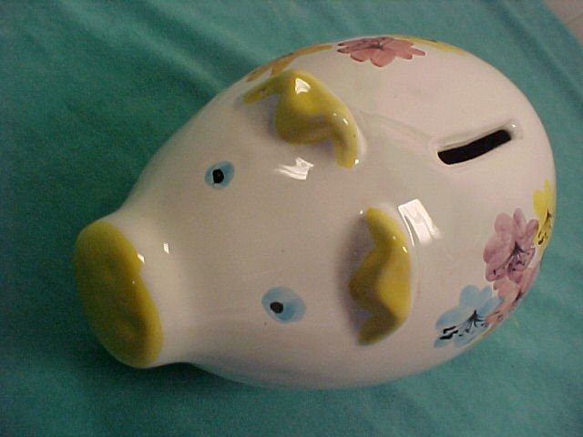 Italian Ceramic Piggy Bank W Stopper 8 Quot Long