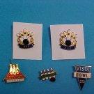 Five Bowling Enamel & Metal Pins