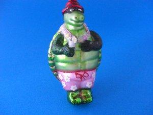 Mr Turtle Beach Blown Glass Christmas Ornament