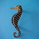 Black Enamel Gold Toned Sea Horse Brooch