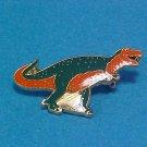 Enamel Dinosaurs Olive Green/Orange Pin