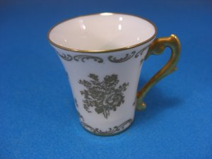 Antique Pate de Limoges France Floral Gilded Demitasse Cup