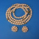 Vintage Strand (Imitation) Pearl & Rhinestones Necklace W/Rosette Earrings