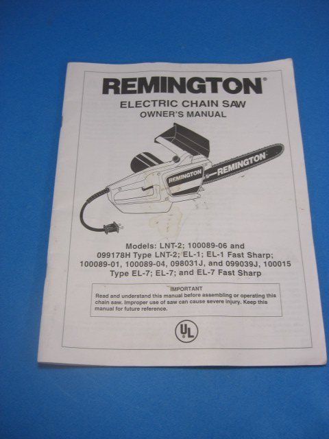 Remington Electric Chain Saw Instruction Manual