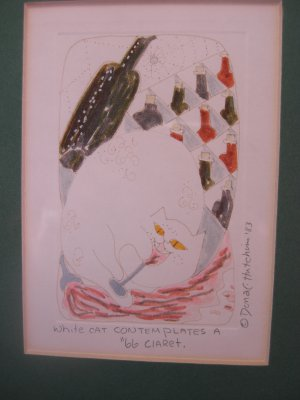 White Cat Contemplates a '66 Ciaret Watercolor by Dona C. Hutchins