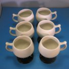 Six HALL Pedestal Mugs # 2274 USA  Vintage Ivory White & Black