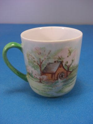 Holiday Signed Cherry Blossom Hand Painted Bone China Cup