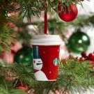 Starbucks Christmas Ornament Winking Red Snowman Ceramic Coffee Tumbler 2012