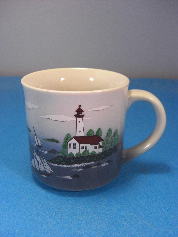 Otagiri Stoneware Sailboats And Lighthouses Mug
