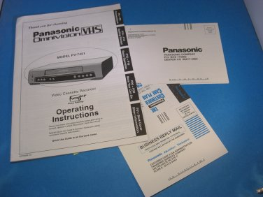 Panasonic Omnivision VHS-Model PV7451-Operating Instructions Manual