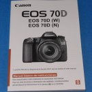 Genuine Canon EOS 70D Digital Camera Basic Instruction Manual Book ( Spanish )