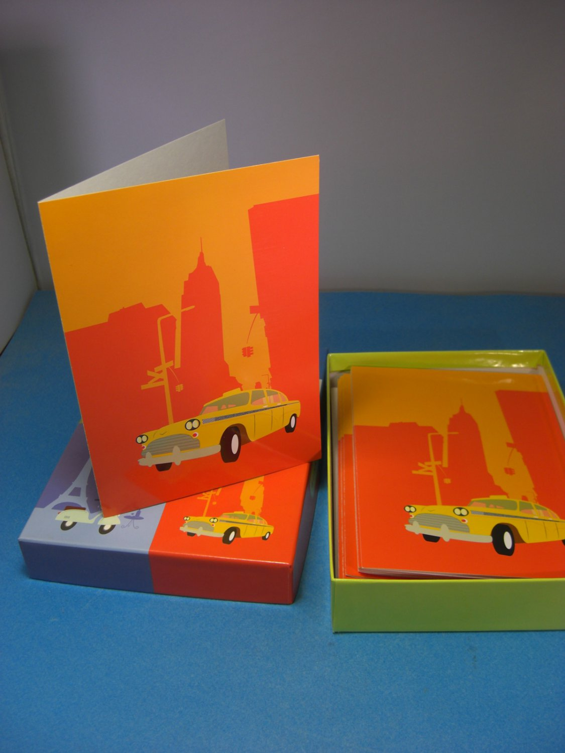Marcel Schurman Orange & Yellow Stationery New York Taxi Cab 20 Cards & Envelopes