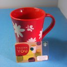 Starbucks 2007 Red & White Embossed Spring Flowers Butterfly + Unswiped Card