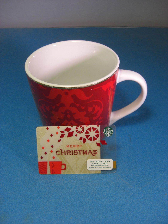 Starbucks Red Tapestry Mug With Gold Trim 16oz 2004