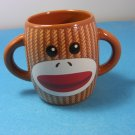 Sock Monkey Double Handle Galerie Ceramic Mug Barrel Shaped