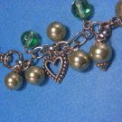 Purse Charm Silver Heart With Two-Tone Green Pearls