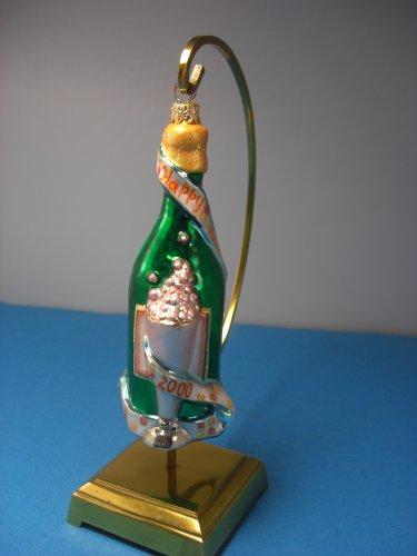 Christopher Radko Designer Bottle Happy New Year 2000 Green Champagne Ornament