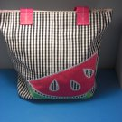 "Watermelon Canvas Tote Bag - 13""x14"" Book Gym Bag Inside Zip"