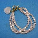 Three Tier Treasured Heart Pink Pearls Wrap Bracelet