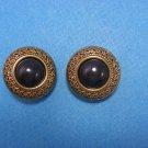Goldtone Round Black Clip Earrings