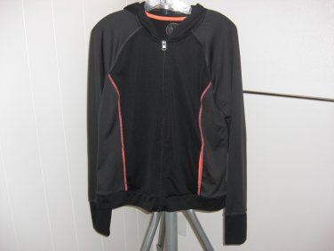 Womens SO Brand Athletic Black, Gray & Orange Hoodie Jacket Size XL