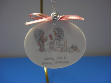 Enesco Precious Moments Round Christmas Ornament Vintage 1989 Samuel J. Butcher