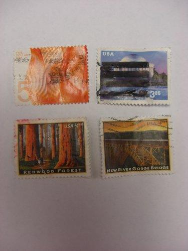 U S Stamps American Landmarks Jefferson Memorial Redwood Forest New River Gorge Bridge 5 Dlls Wave