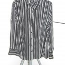 East 5th Black/Gray/White Polyester Stretch Striped Long Sleeves Blouse 1X