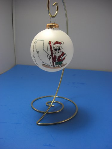 California Surfer Santa Glass Ornament - Hand Painted by Heart Gifts Made in USA
