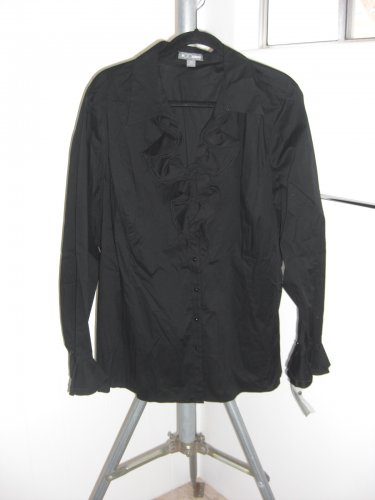 Go Silk Women�s Stretch Knit Black Ruffle Blouse Size 3X NWT