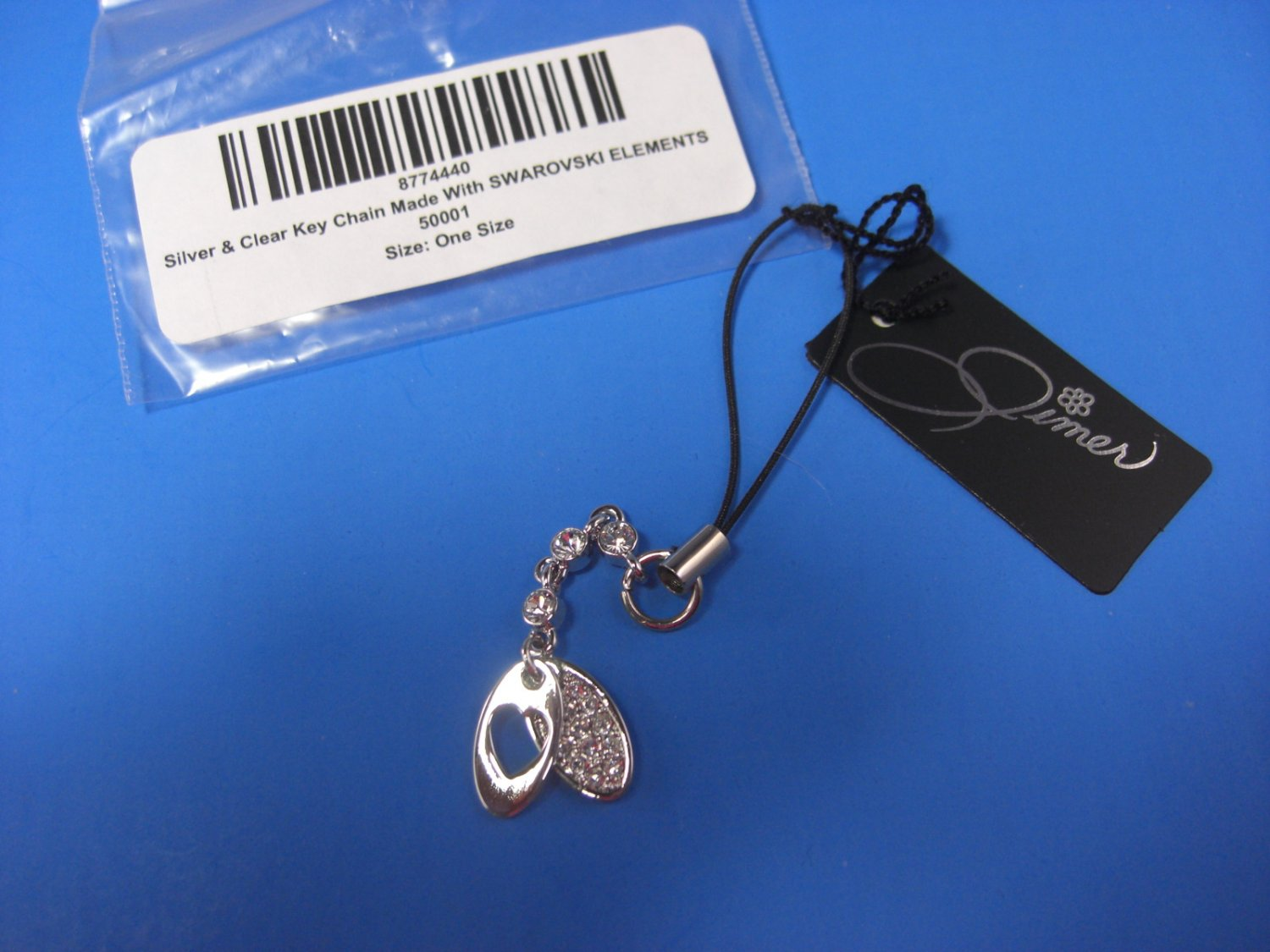 JIMER Silver & Clear Key Chain Made With SWAROVSKI ELEMENTS