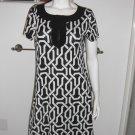 TIANA B Black & White Modern Print Stretch Knit Tunic Dress Sz Med.