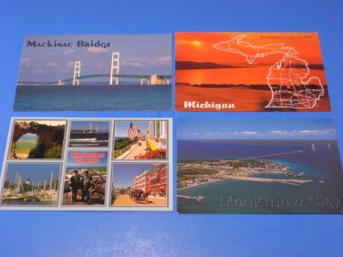 Lot of 4 Postcards of Mackinac Bridge & Michigan