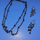 Fashionable Black Beads Necklace & Earring Set