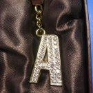 "ARGENTO SC Swarovski Crystal Key Chain Initial A Gold ""A"""