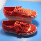 Vans Off The Wall Women's Sz 8.5 Red Sequins Glittery