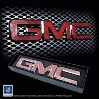 """Iced Out EMZ Chrome Grille Emblem """"GMC"""" with Red Crystals, Each"""
