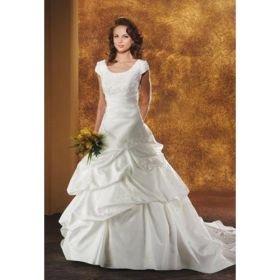 Princess A-line Scoop Chapel Train Satin Wedding Dresses for Bride (HSGX051)