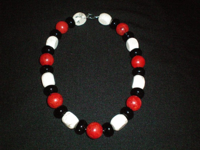 Coral, Black agate, and Howlite hand made necklace