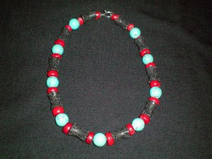 Turquoise, Coral, and Lava stone hand made necklace