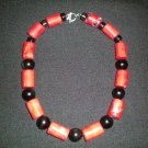 Obsidian and Coral hand made necklace
