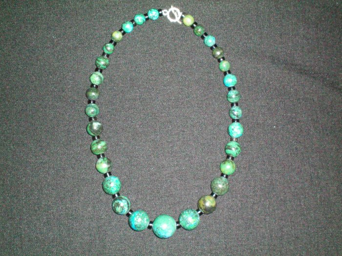 Chryscolla and Obsidian hand made necklace