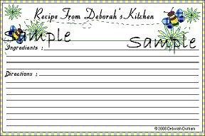 Blue Bee Recipe Cards 2287