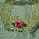 Shabby Chic Stretch Lacy Baby Headband - Pink Satin Rosette - FREE SHIPPING!