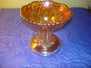 Hobstar Puch Bowl Base Carnival glass Marigold by Imperial