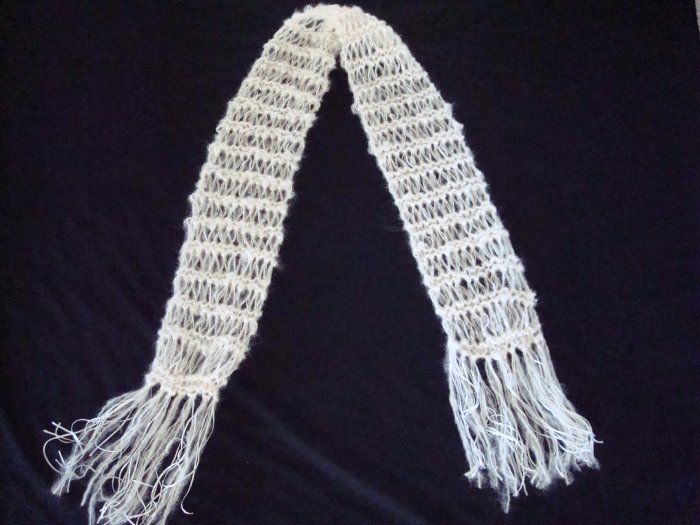 White Mohair and Ribbon Scarf