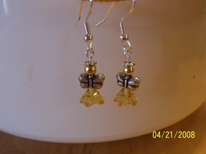 """Adorable Silver and Gold  """"Angel"""" Earrings"""