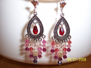"""In the Pink"" Swarovski crystal chandelier earrings"