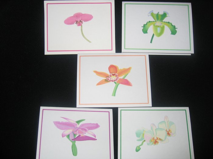 Handmade orchid cards 5 pack